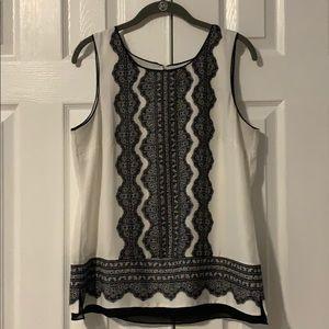 WHBM size M sleeveless black and white top
